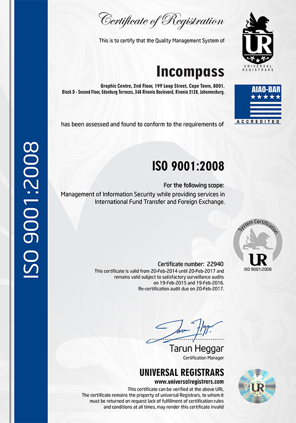 Money Transfer with an ISO 9001 approved company